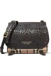 Burberry Checked Textured And Perforated Leather Shoulder Bag Black
