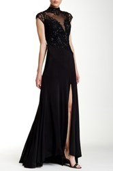 Sue Wong Plunging Illusion Neckline Beaded Embroidery Gown Black