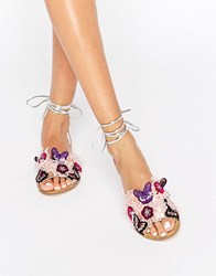 Asos Fraction Embroidered Flat Sandals Multi