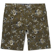 Club Monaco Maddox Floral Print Linen And Cotton Blend Shorts Green