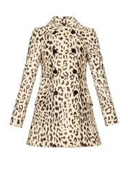 Dolce And Gabbana Double Breasted Leopard Print Faux Fur Coat Leopard