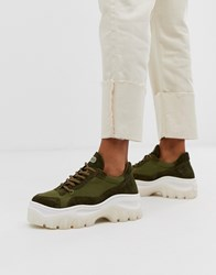 Bronx Suede Chunky Trainers In Khaki Green