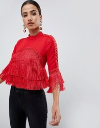 Ax Paris Crop Frill Blouse Red