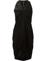 Rick Owens Lilies Leather Panel Dress Black