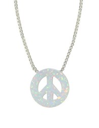 Lord And Taylor White Opal Sterling Silver Peace Sign Pendant Necklace