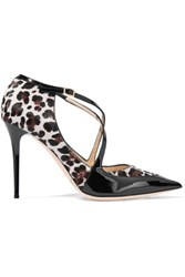 Jimmy Choo Leopard Print Pony Hair And Patent Leather Pumps Black