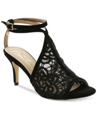 Nanette By Nanette Lepore Bonnie Crochet Ankle Strap Dress Sandals Women's Shoes Black