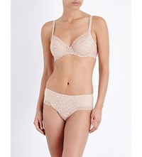Chantelle Merci Stretch Lace Underwired Half Cup Bra Perfect Nude