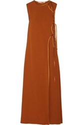 Rosetta Getty Tie Front Satin Trimmed Canvas Maxi Dress Camel