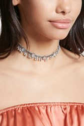 Forever 21 Faux Stone Ball Chain Choker Silver White