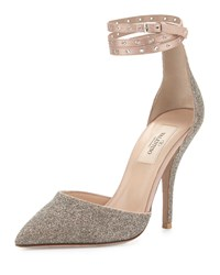 Red Valentino Glitter Pointed Toe Ankle Wrap Pump Gold Women's