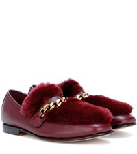 Boyy Loafur Fur Trimmed Leather Loafers Red