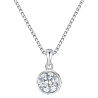 Jools By Jenny Brown Cubic Zirconia Simple Circle Necklace Silver