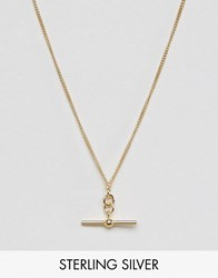 Asos Gold Plated Sterling Silver Toggle Necklace Gold
