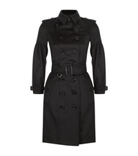 Burberry Puff Sleeve Cashmere Trench Coat Female Navy