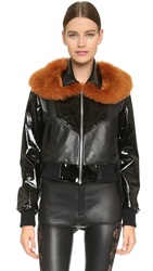Rodarte Fox Collar Bomber Jacket Black