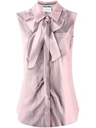 Moschino Trompe L'oeil Sleeveless Shirt Pink And Purple