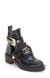 Balenciaga Women's Cutout Buckle Boot Blue