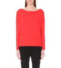 Allude Dropped Shoulder Cashmere Jumper Red