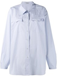 Miu Miu Micro Check Shirt Blue