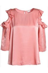 Claudie Pierlot Beline Cold Shoulder Ruffle Trimmed Satin Blouse Pink