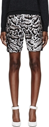 Christopher Kane Grey Calf Hair And Leather Snow Leopard Print Shorts