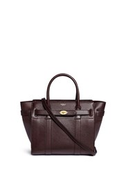 Mulberry 'Small Zipped Bayswater' Grainy Leather Tote Red