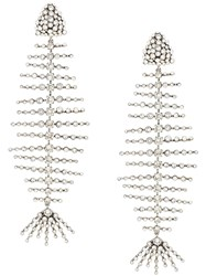 Saint Laurent Smoking Fish Skeleton Earrings Silver
