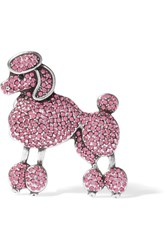 Marc Jacobs Poodle Silver Tone Crystal Brooch Pink