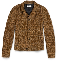 Saint Laurent Slim Fit Leopard Print Suede Jacket Brown