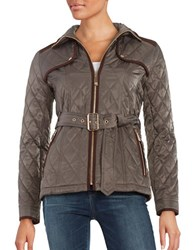 Vince Camuto Faux Suede Trimmed Quilted Jacket Dark Taupe