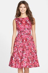 Petite Women's Maggy London Print Stretch Cotton Sateen Fit And Flare Dress