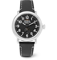 Shinola The Runwell 41Mm Stainless Steel And Leather Watch Black