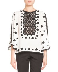 Andrew Gn Two Tone Lace Crepe Blouse White Black