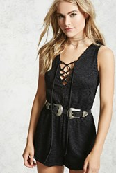 Forever 21 Crochet Lace Up Romper Black