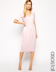 Asos Tall Drape Back Pencil Dress With Sleeve Blush