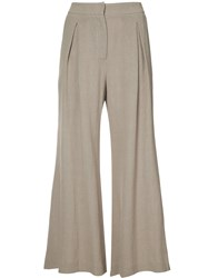 Dusan Flared Cropped Trousers Women Linen Flax 42 Nude Neutrals
