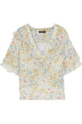 Love Sam Woman Ruffled Floral Print Voile Blouse Ivory