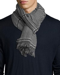 Begg And Co Kishorn Washed Lagg Houndstooth Cashmere Scarf Charcoal