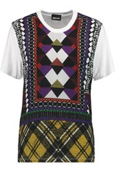 Just Cavalli Printed Chiffon And Jersey Paneled T Shirt White