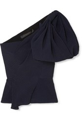 Roland Mouret Bow Detailed Silk Jacquard Top Navy