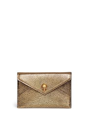 Alexander Mcqueen Skull Metallic Leather Envelope Card Holder