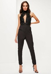 Missguided Black Lace Applique High Neck Plunge Jumpsuit