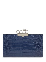 Alexander Mcqueen Four Ring Croc Embossed Leather Clutch Industial Blue