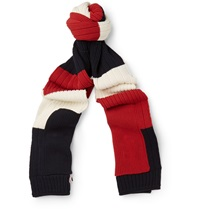 Thom Browne Striped Cotton Scarf Red
