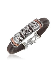 Tedora Silver Band Leather Bracelet