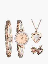 Sekonda 2533G.76 'S Crystal Locket Pendant Bangle And Bracelet Strap Watch Gift Set Rose Gold