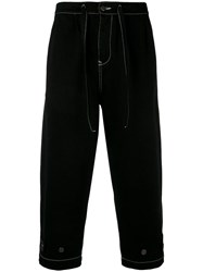 Paura Contrast Stitch Cropped Trousers Black