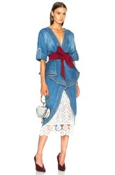 Johanna Ortiz Nuevo Mexicana Cotton Denim Trench Coat With Belt And Underskirt In Blue