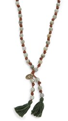 Chan Luu Leather Beaded Tassel Necklace Labradorite Natural Brown